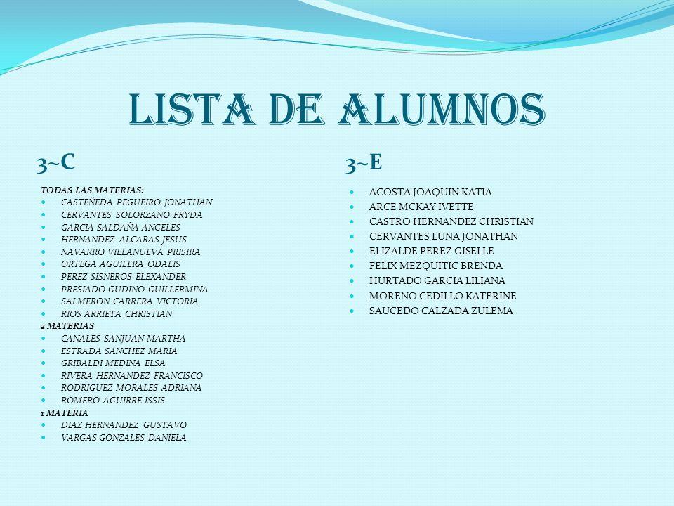 LISTA DE ALUMNOS 3~C 3~E ACOSTA JOAQUIN KATIA ARCE MCKAY IVETTE