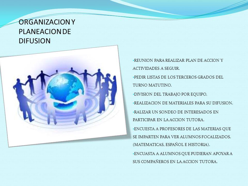 ORGANIZACION Y PLANEACION DE DIFUSION