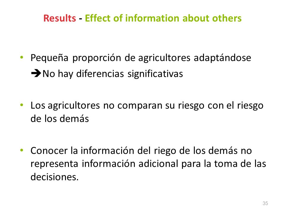 Results - Effect of information about others
