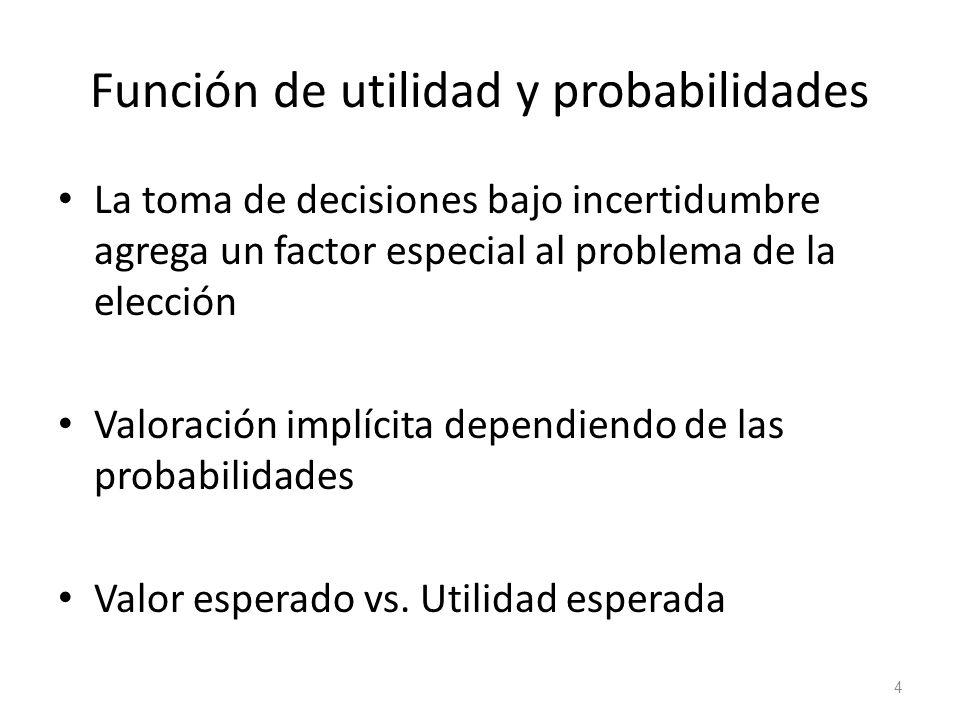 Función de utilidad y probabilidades