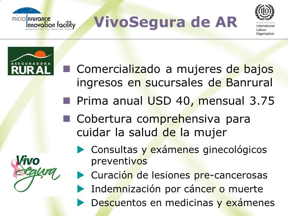 VivoSegura de AR Comercializado a mujeres de bajos ingresos en sucursales de Banrural. Prima anual USD 40, mensual 3.75.