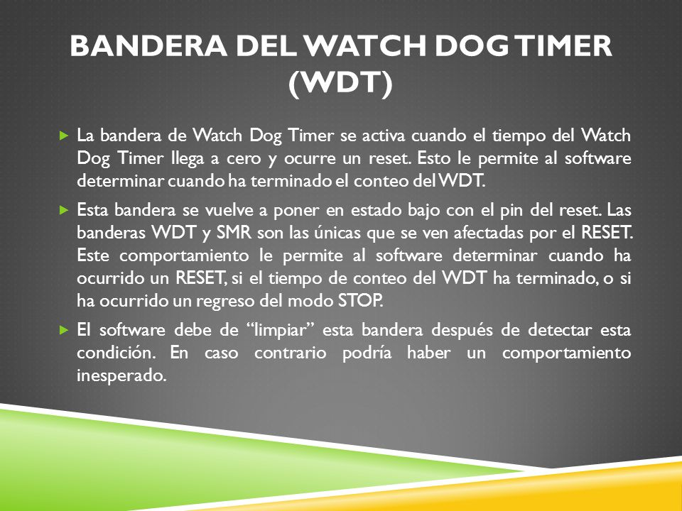BANDERA DEL WATCH DOG TIMER (WDT)