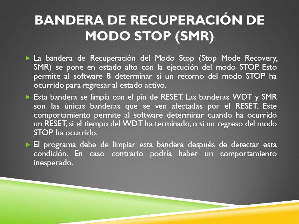 BANDERA DE RECUPERACIÓN DE MODO STOP (SMR)