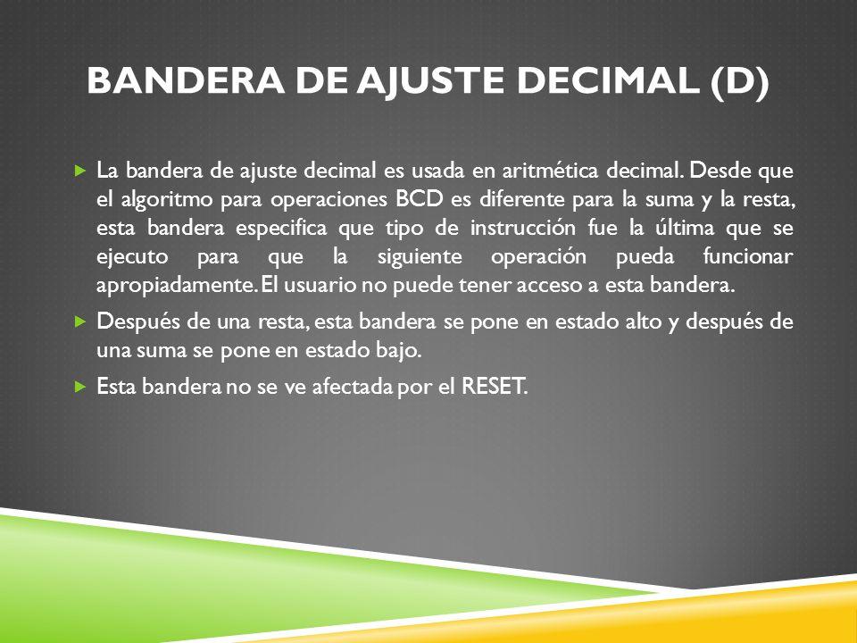 BANDERA DE AJUSTE DECIMAL (D)
