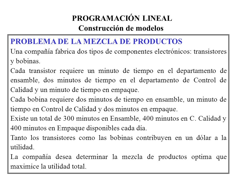 PROGRAMACIÓN LINEAL Construcción de modelos