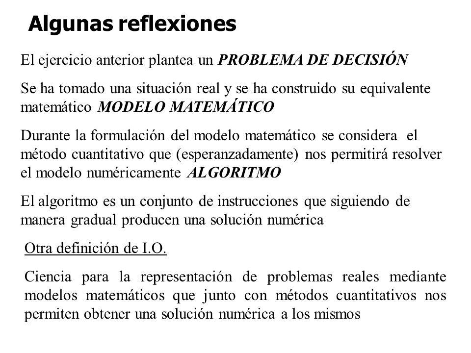 Algunas reflexiones El ejercicio anterior plantea un PROBLEMA DE DECISIÓN.