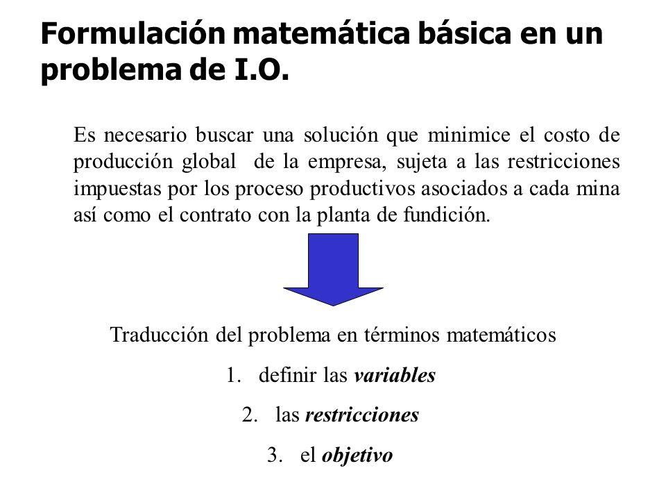 Traducción del problema en términos matemáticos