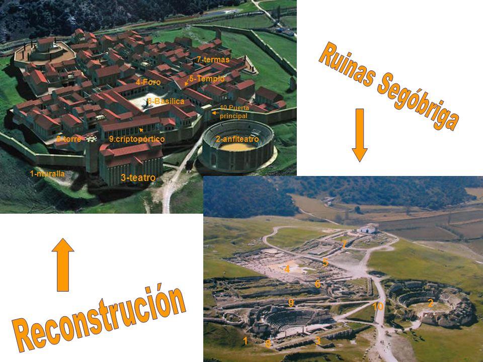 Ruinas Segóbriga Reconstrución 7 5 4 6 9 2 10 1 8 3 3-teatro 7-termas