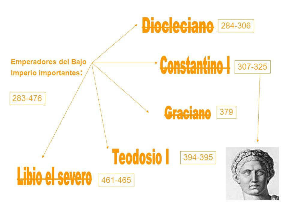 Constantino I Libio el severo Diocleciano Teodosio I Graciano 284-306