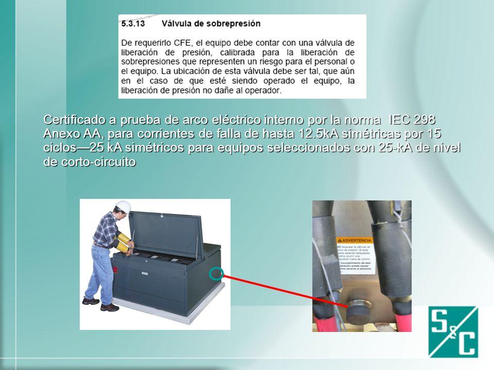 Certificado a prueba de arco eléctrico interno por la norma IEC 298 Anexo AA, para corrientes de falla de hasta 12.5kA simétricas por 15 ciclos—25 kA simétricos para equipos seleccionados con 25-kA de nivel de corto-circuito