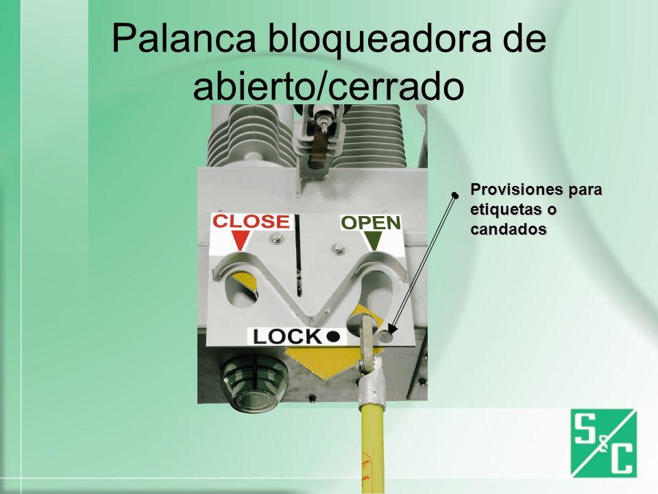 Palanca bloqueadora de abierto/cerrado