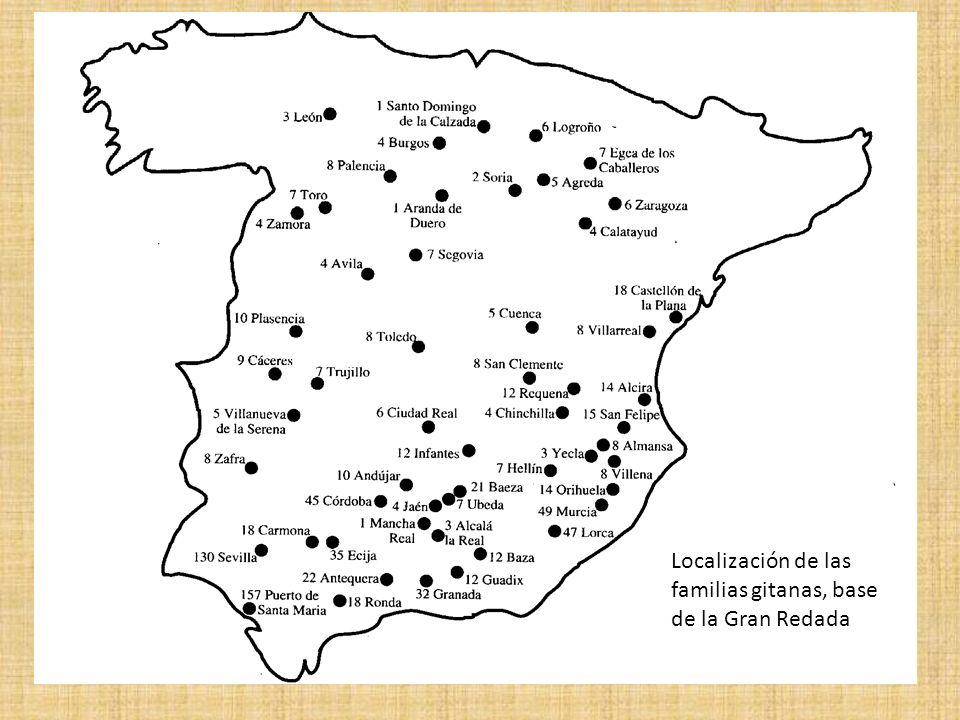 Localización de las familias gitanas, base de la Gran Redada