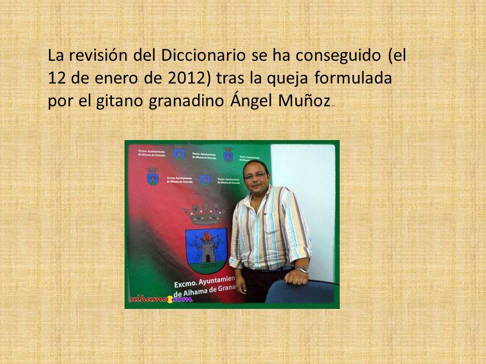 La revisión del Diccionario se ha conseguido (el 12 de enero de 2012) tras la queja formulada por el gitano granadino Ángel Muñoz..