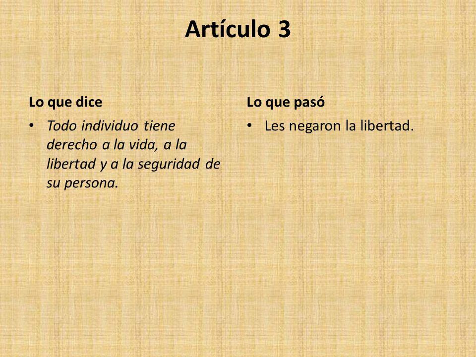 Artículo 3 Lo que dice Lo que pasó