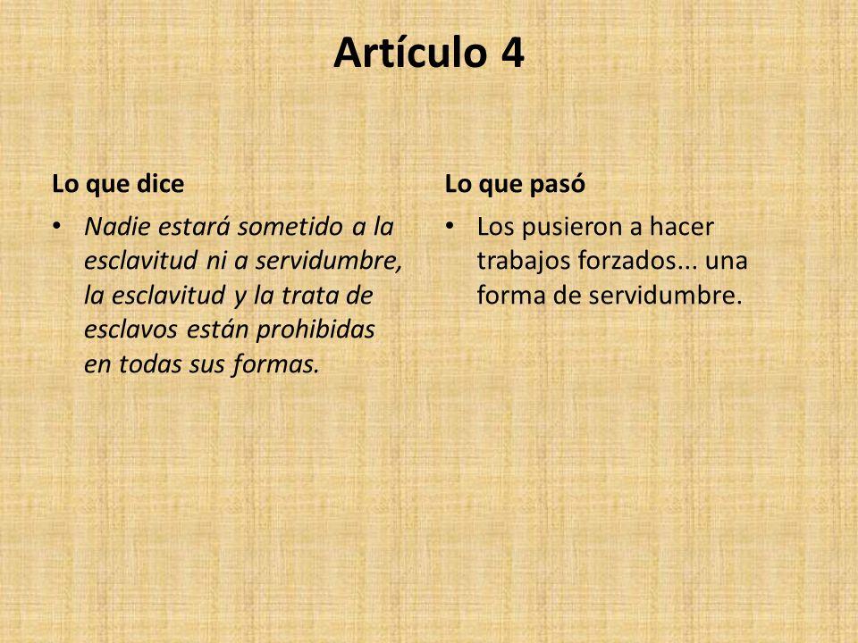 Artículo 4 Lo que dice Lo que pasó