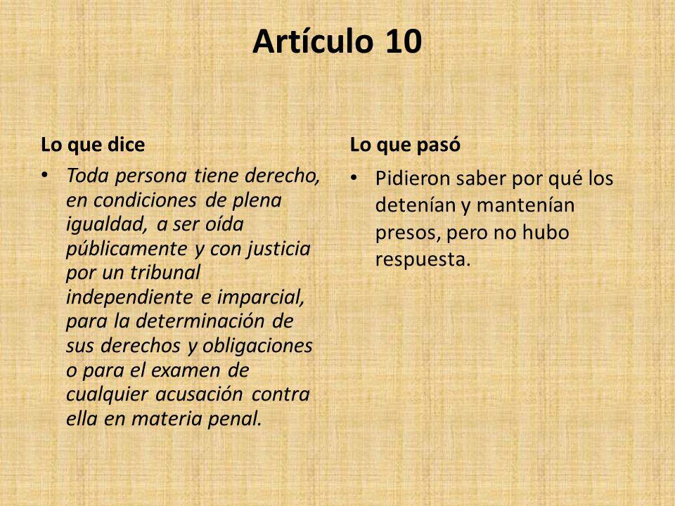 Artículo 10 Lo que dice Lo que pasó