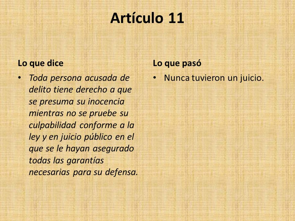 Artículo 11 Lo que dice Lo que pasó