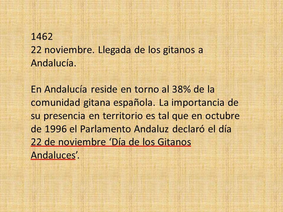 1462 22 noviembre. Llegada de los gitanos a Andalucía.