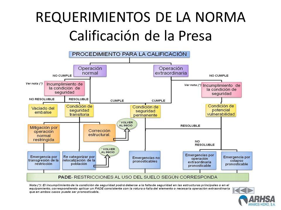 REQUERIMIENTOS DE LA NORMA Calificación de la Presa