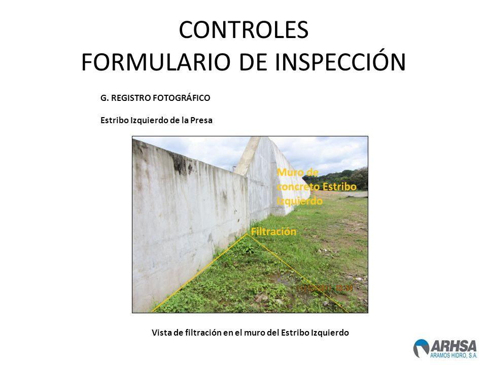 CONTROLES FORMULARIO DE INSPECCIÓN