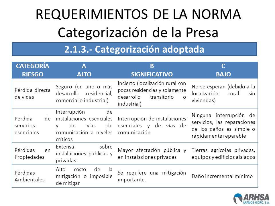 REQUERIMIENTOS DE LA NORMA Categorización de la Presa