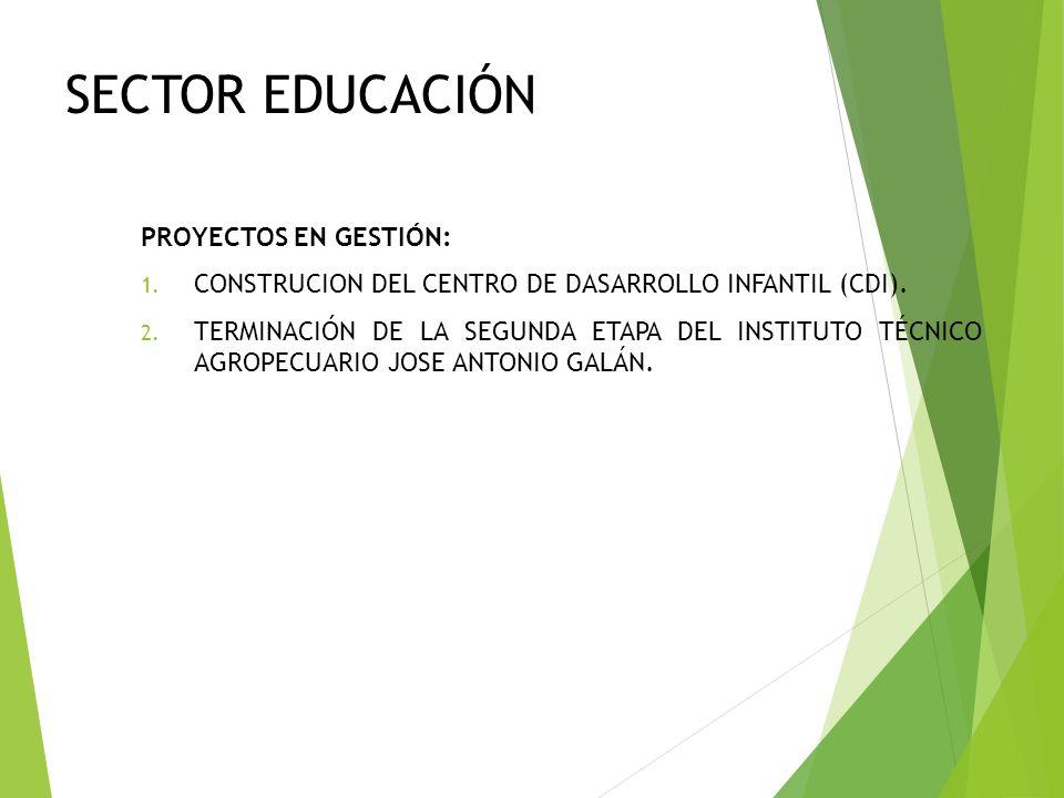 SECTOR EDUCACIÓN PROYECTOS EN GESTIÓN: