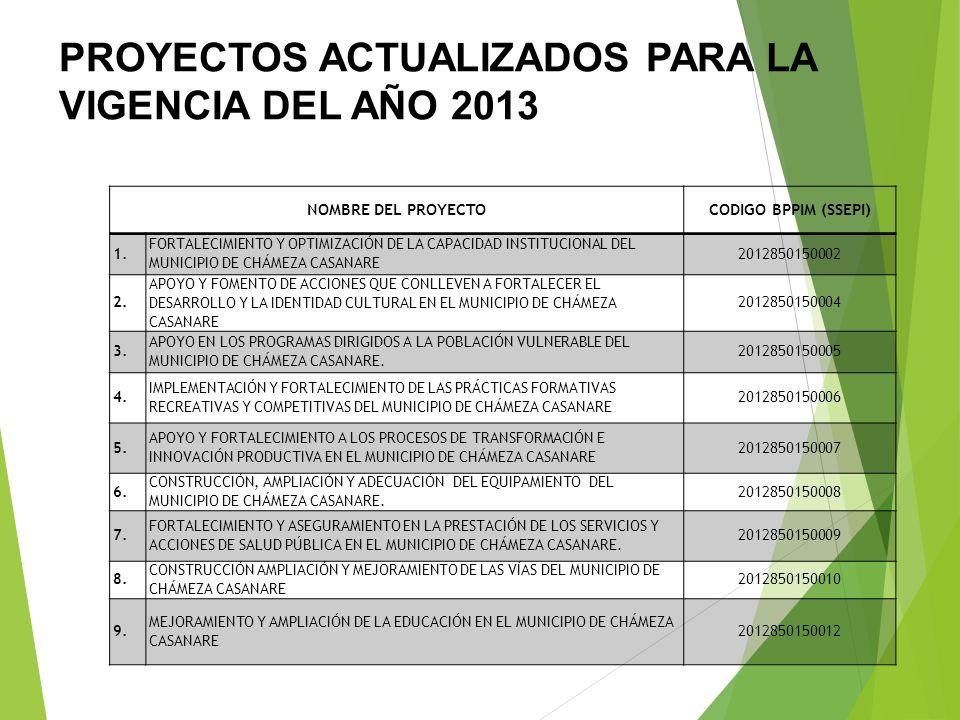 PROYECTOS ACTUALIZADOS PARA LA VIGENCIA DEL AÑO 2013