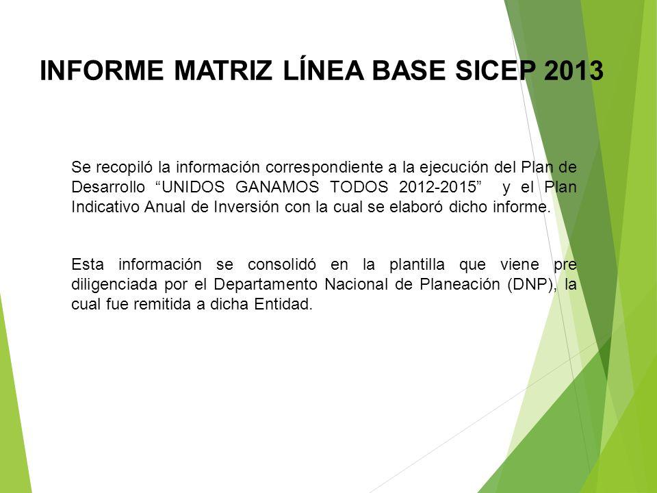 INFORME MATRIZ LÍNEA BASE SICEP 2013