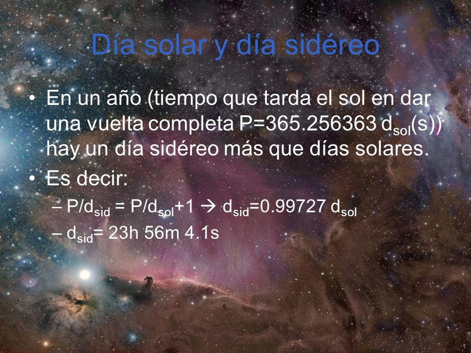 Día solar y día sidéreo En un año (tiempo que tarda el sol en dar una vuelta completa P=365.256363 dsol(s)) hay un día sidéreo más que días solares.