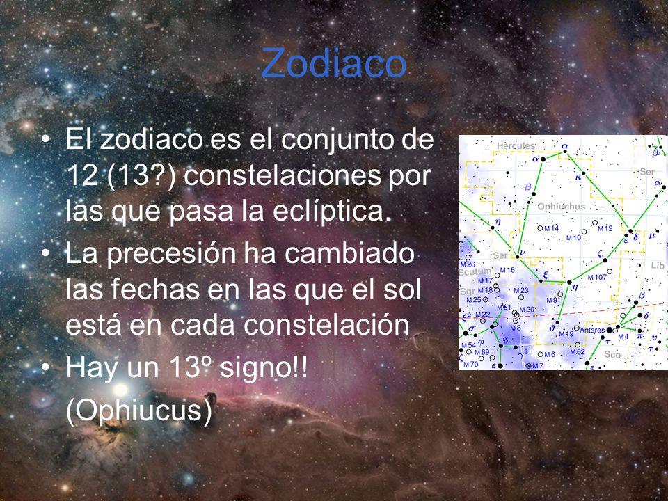 Zodiaco El zodiaco es el conjunto de 12 (13 ) constelaciones por las que pasa la eclíptica.