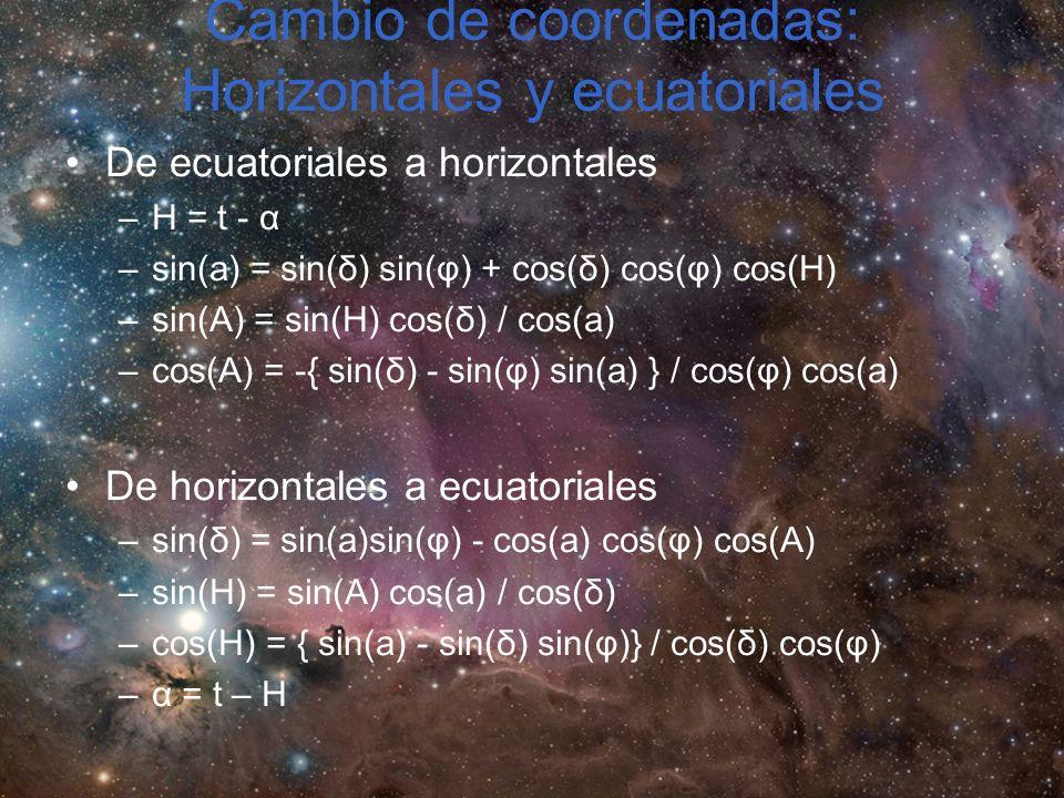 Cambio de coordenadas: Horizontales y ecuatoriales