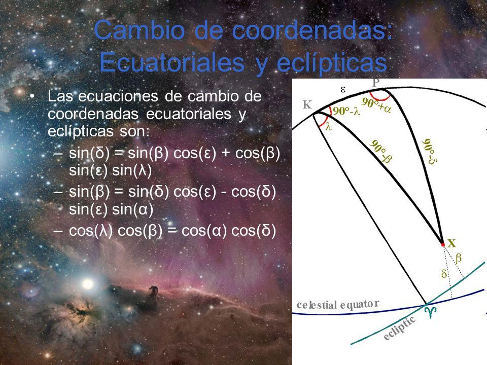 Cambio de coordenadas: Ecuatoriales y eclípticas