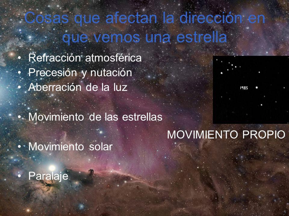 Cosas que afectan la dirección en que vemos una estrella