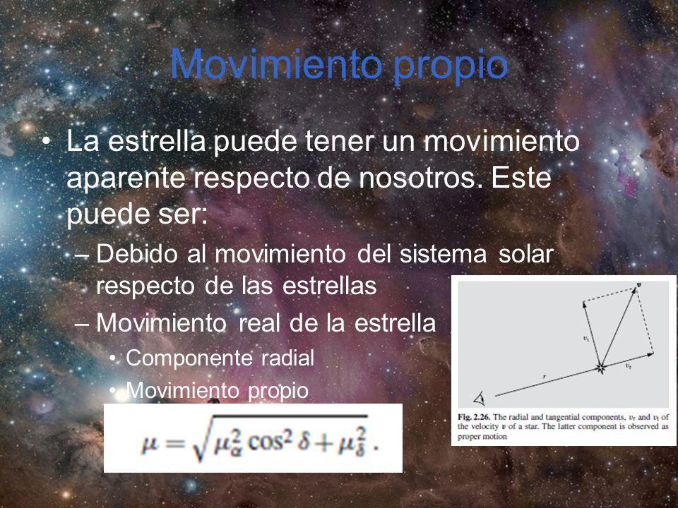 Movimiento propio La estrella puede tener un movimiento aparente respecto de nosotros. Este puede ser: