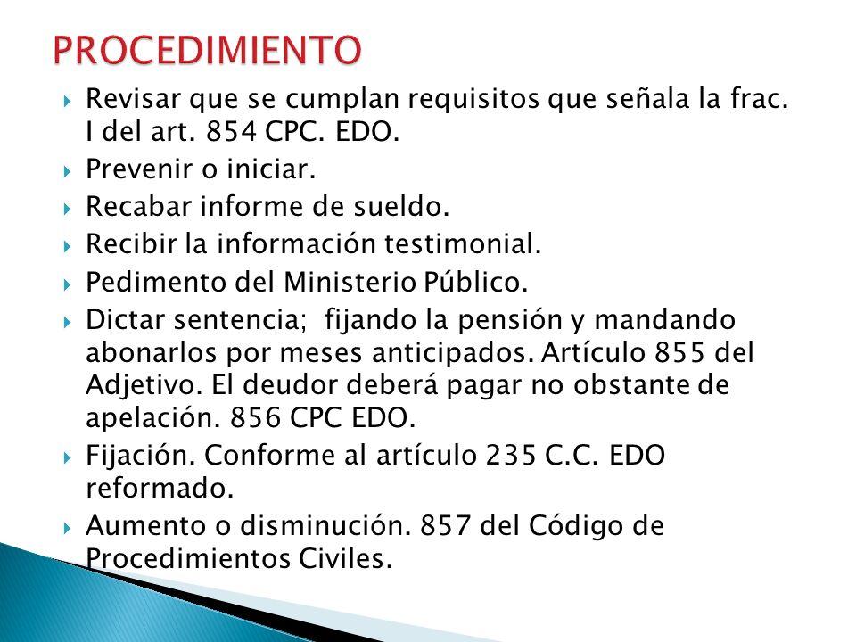 PROCEDIMIENTO Revisar que se cumplan requisitos que señala la frac. I del art. 854 CPC. EDO. Prevenir o iniciar.