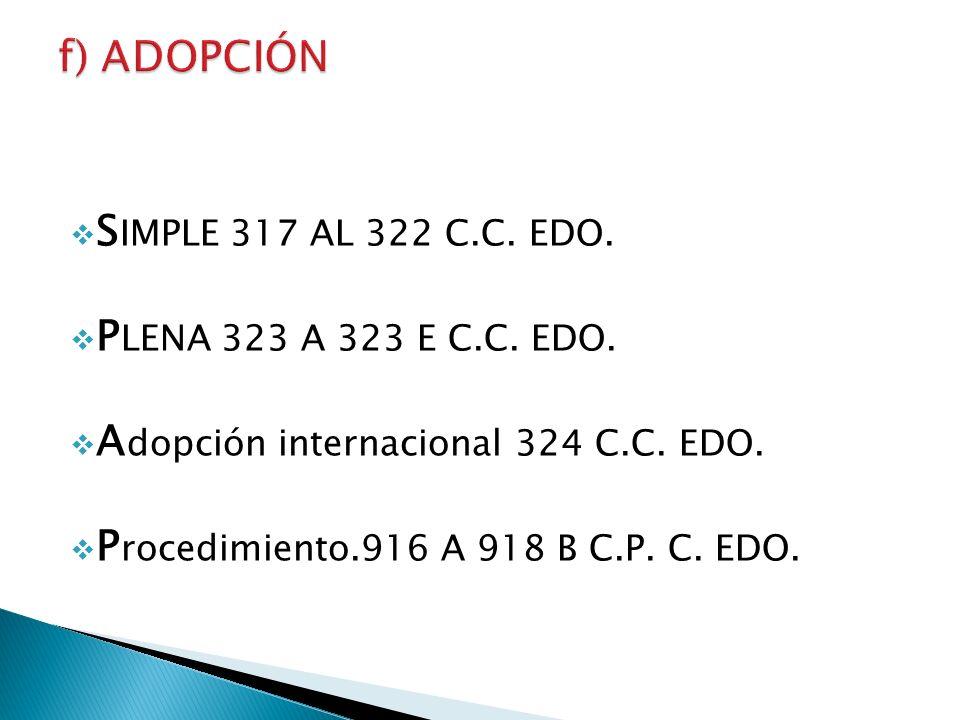 Adopción internacional 324 C.C. EDO.