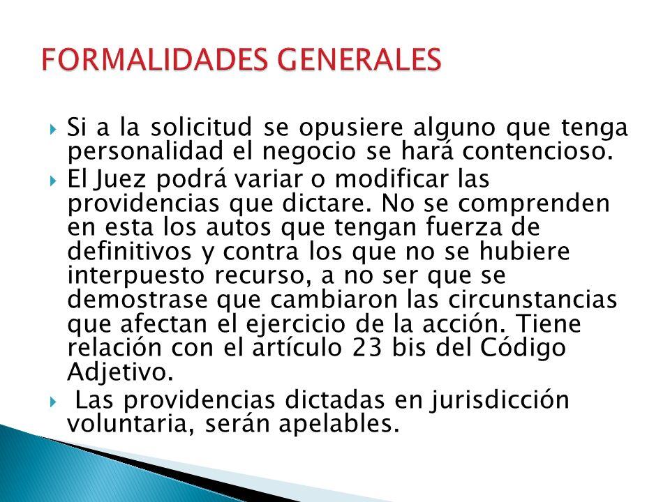 FORMALIDADES GENERALES