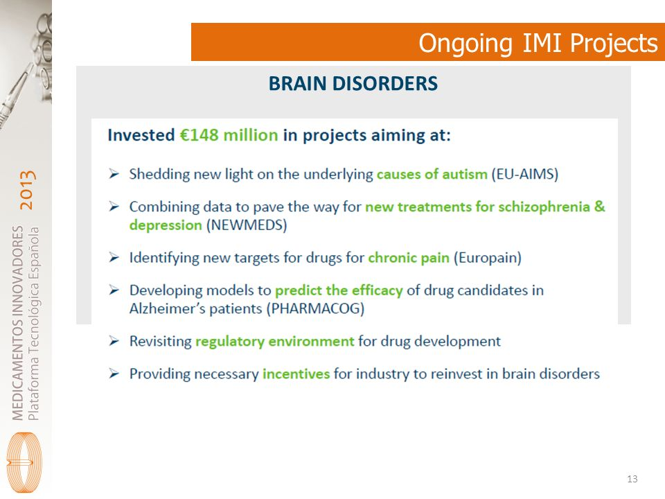 Ongoing IMI Projects BRAIN DISORDERS