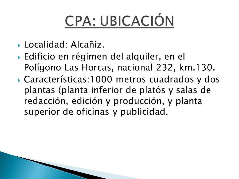 CPA: UBICACIÓN Localidad: Alcañiz.