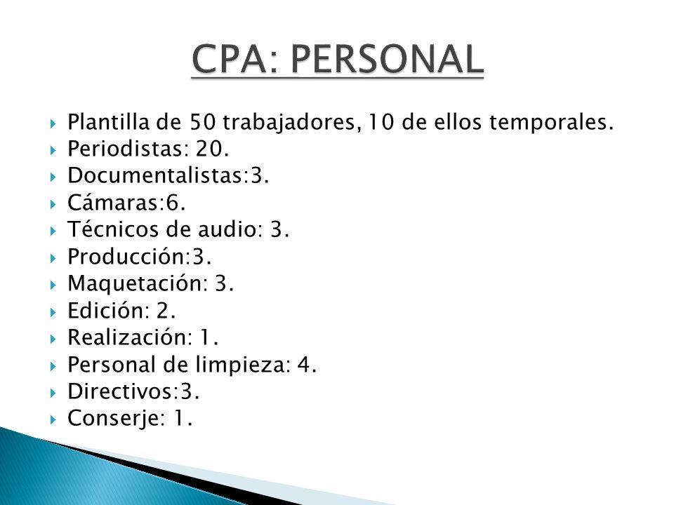 CPA: PERSONAL Plantilla de 50 trabajadores, 10 de ellos temporales.