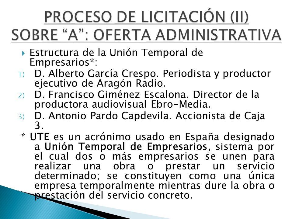 PROCESO DE LICITACIÓN (II) SOBRE A : OFERTA ADMINISTRATIVA