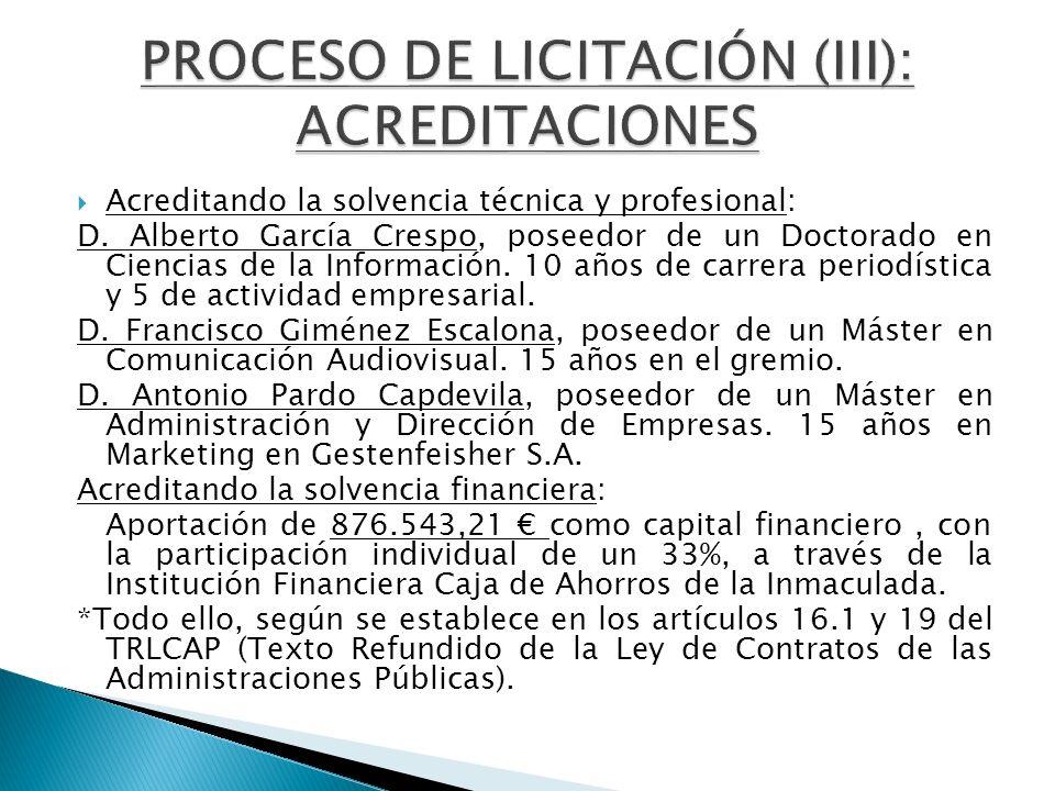 PROCESO DE LICITACIÓN (III): ACREDITACIONES