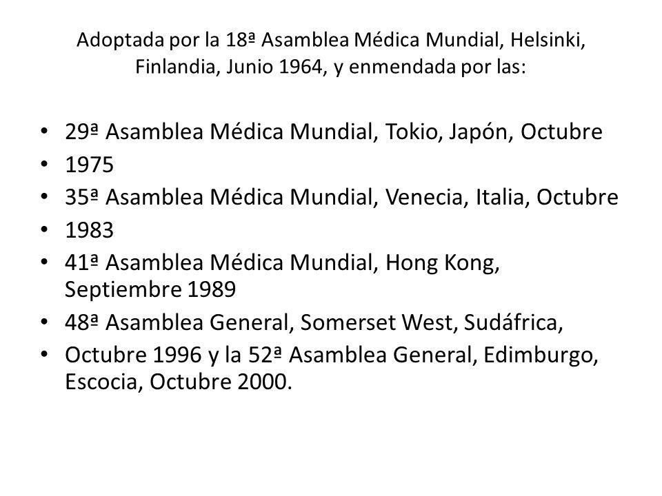 29ª Asamblea Médica Mundial, Tokio, Japón, Octubre 1975