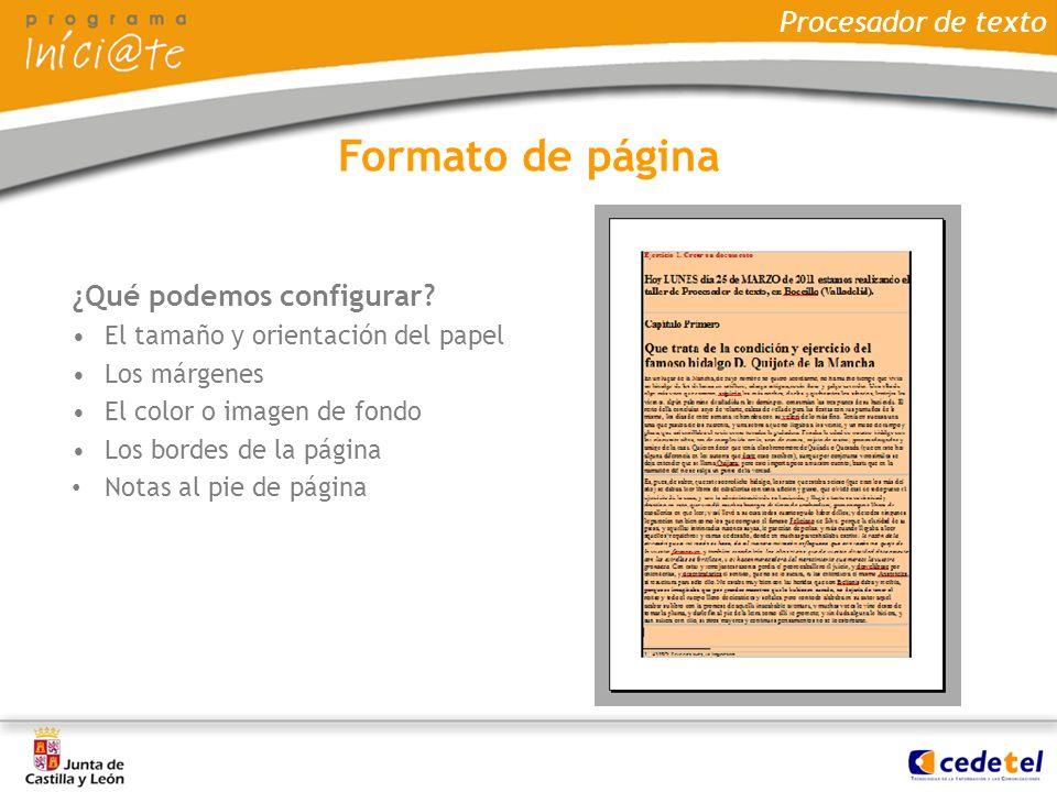 Formato de página Procesador de texto ¿Qué podemos configurar