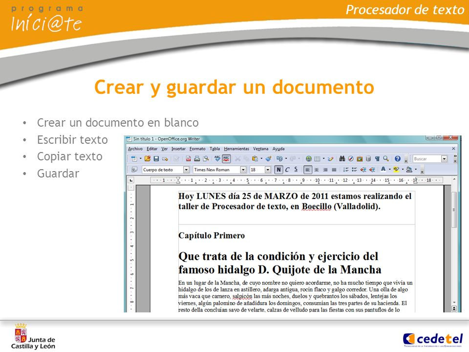 Crear y guardar un documento