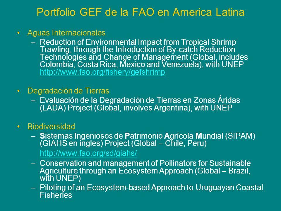 Portfolio GEF de la FAO en America Latina