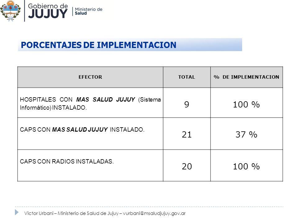 PORCENTAJES DE IMPLEMENTACION 9 100 %