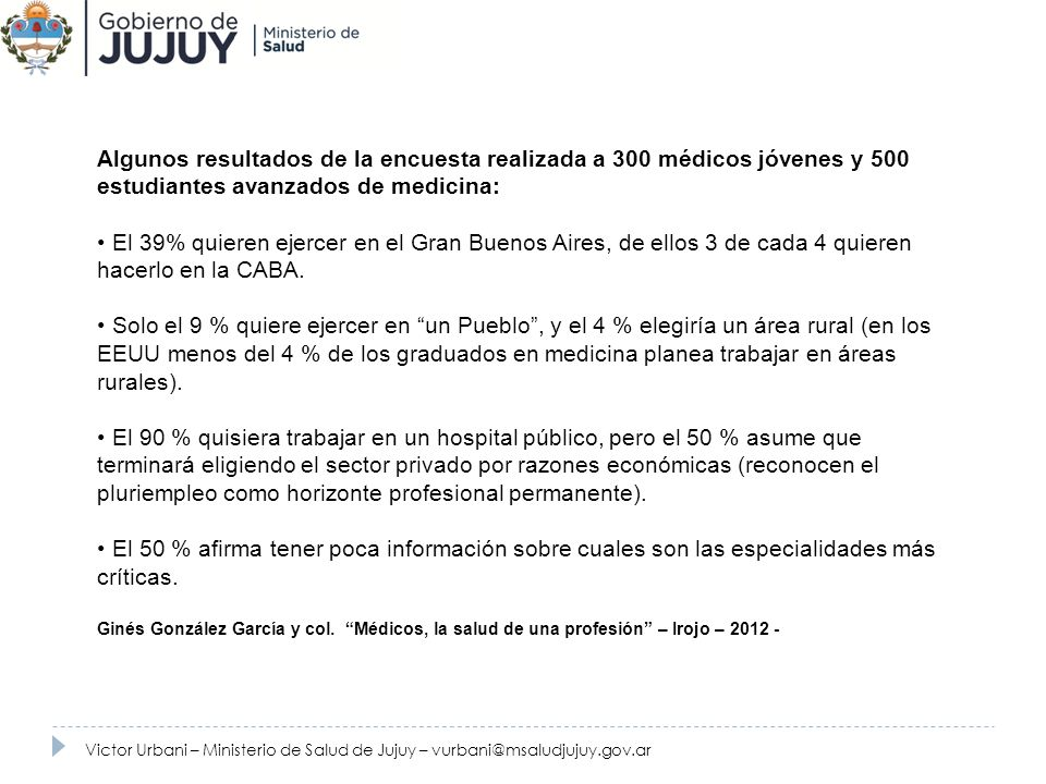 Fuente: Ministerio de Salud de Jujuy. 2010.