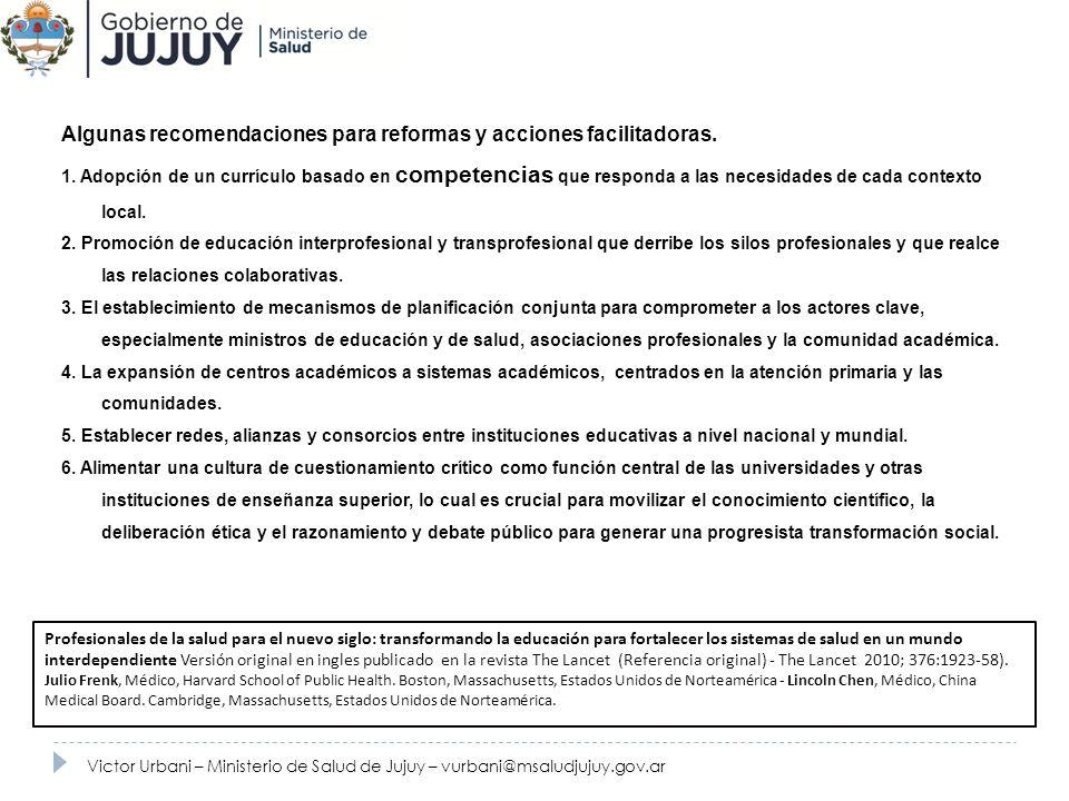 Recursos HumanosAlgunas recomendaciones para reformas y acciones facilitadoras.