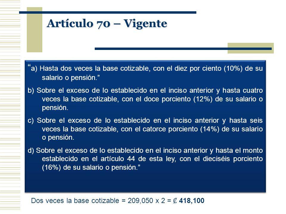 Artículo 70 – Vigente a) Hasta dos veces la base cotizable, con el diez por ciento (10%) de su salario o pensión.